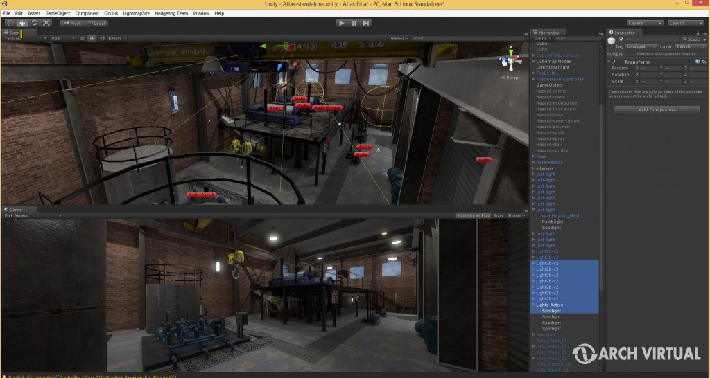 Unity3D game engine integration for Oculus Rift application