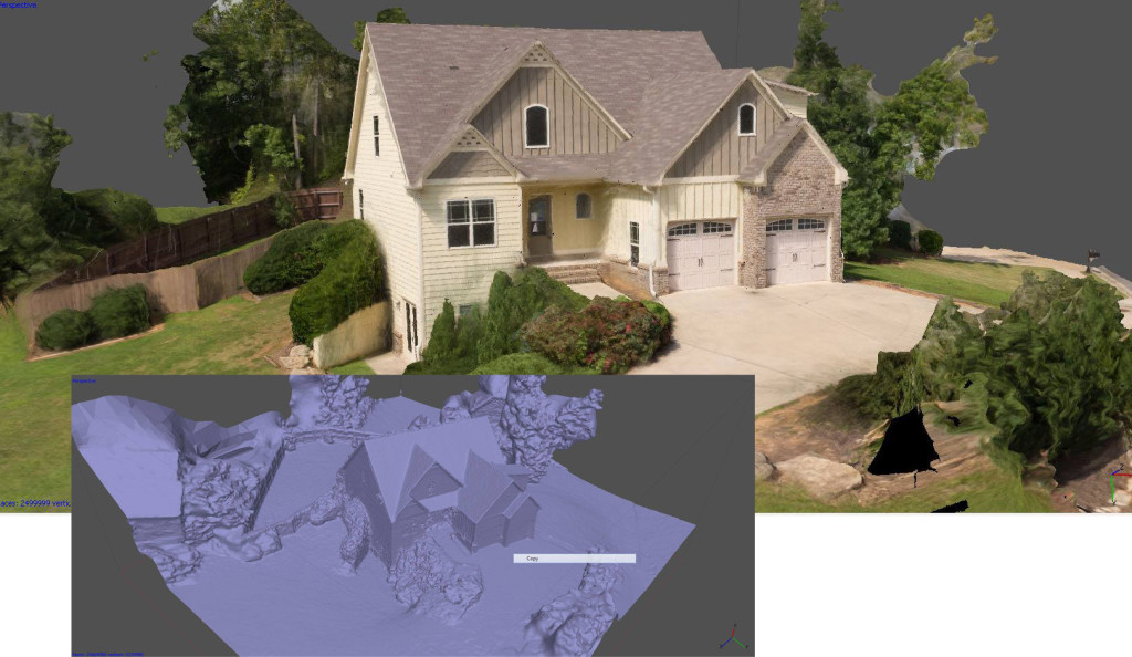 aerial 3D scan of a residence