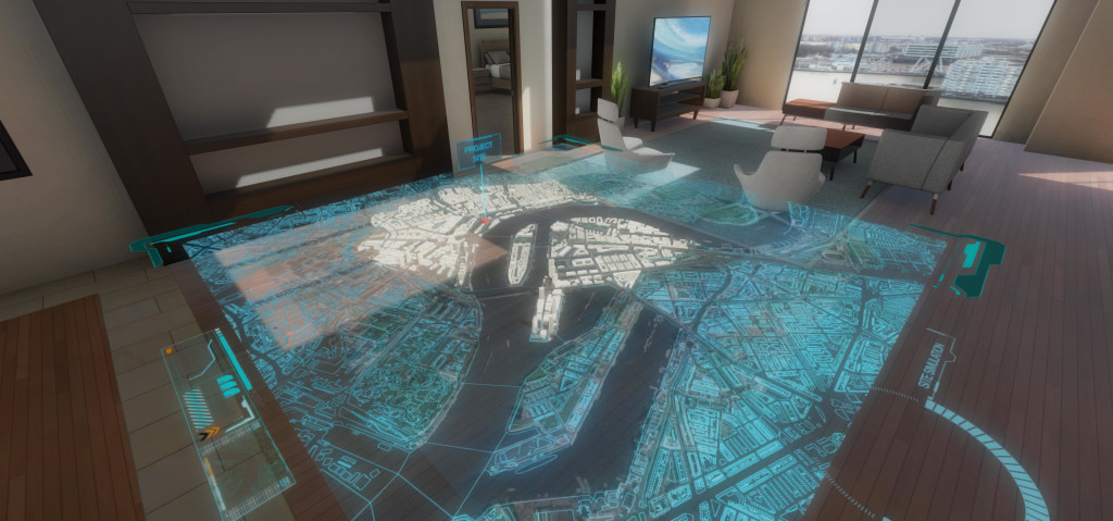 city planning grid in virtual reality oculus rift