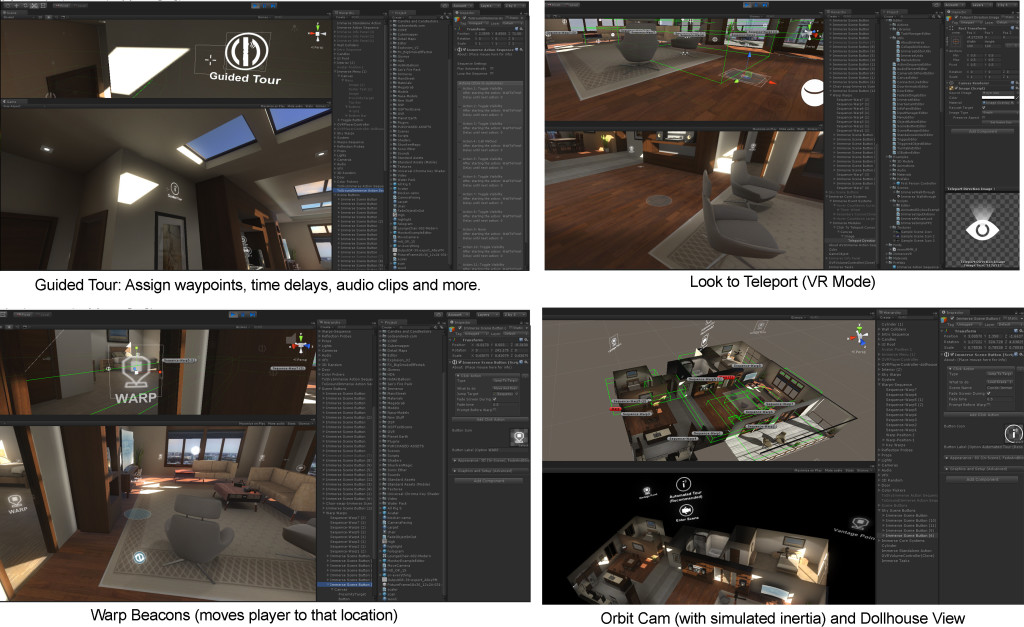 immerse interactive tools for creating virtual reality with Unity, Oculus Rift and more.  Useful for architectural visualization, trade show booths, medical simulations and more.