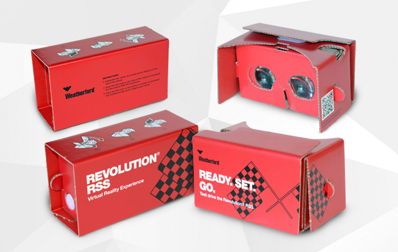 trade show booth exhibit give-away google cardboard virtual reality experience