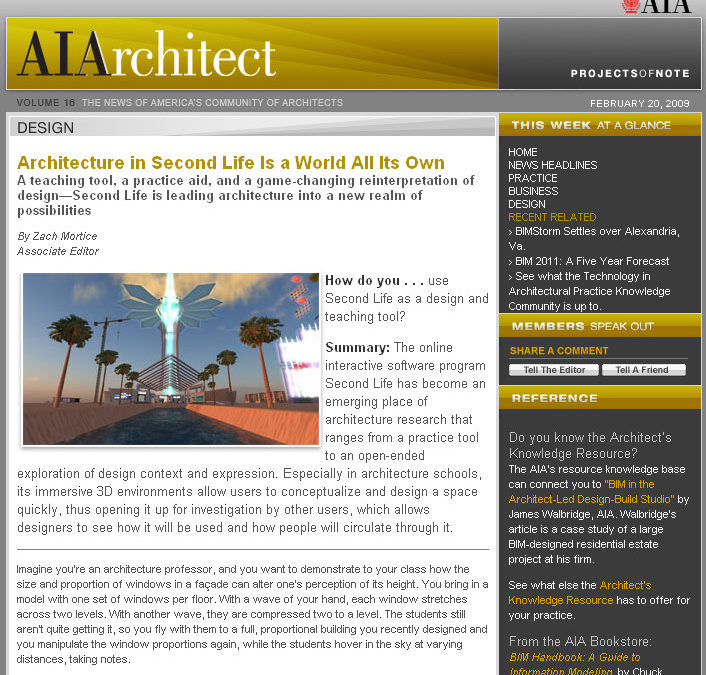 AIArchitect Covers Architecture in Virtual Environments