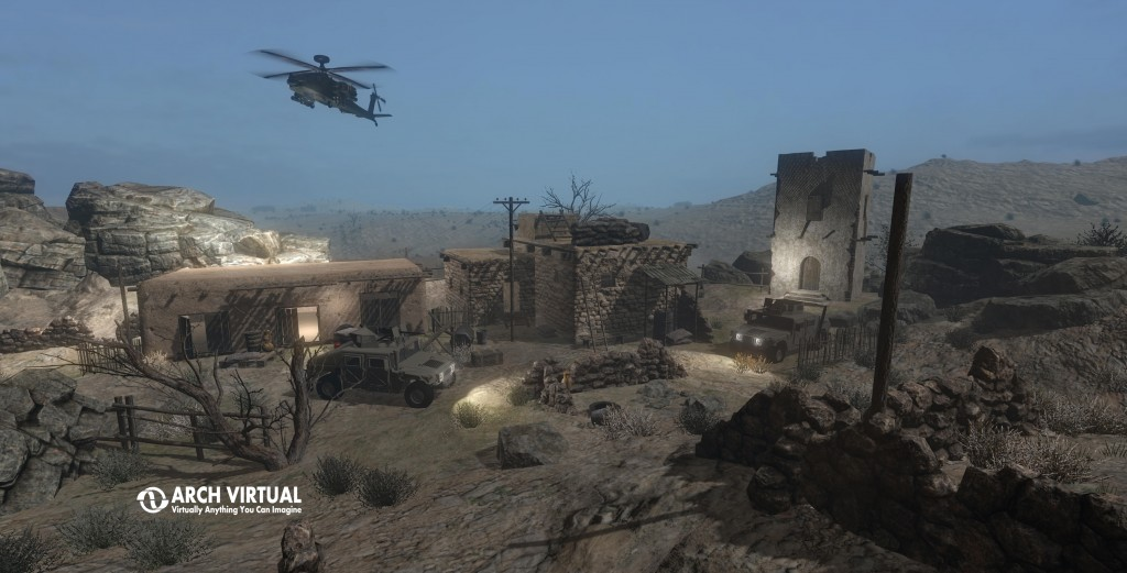 military training and simulation 3D CG animation helicopter humvee