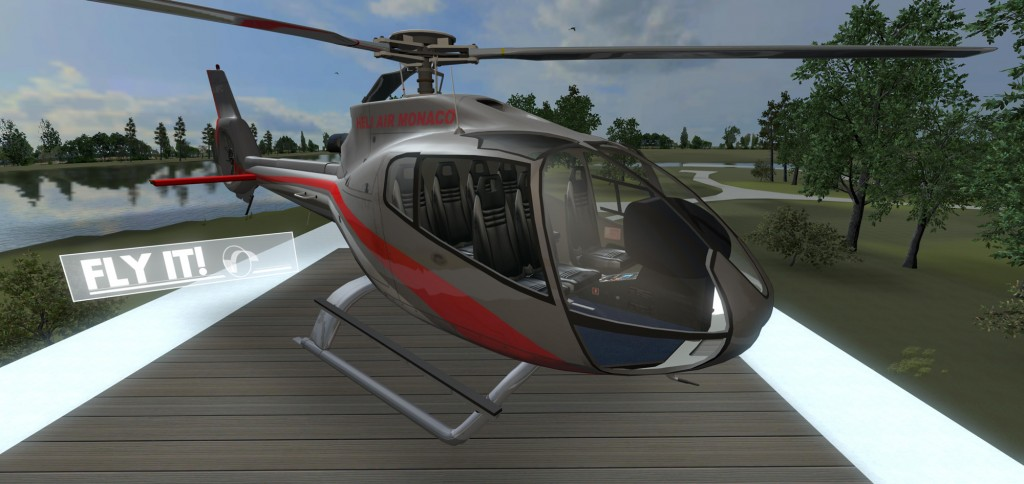 Helicopter flight simulator in BIM visualization