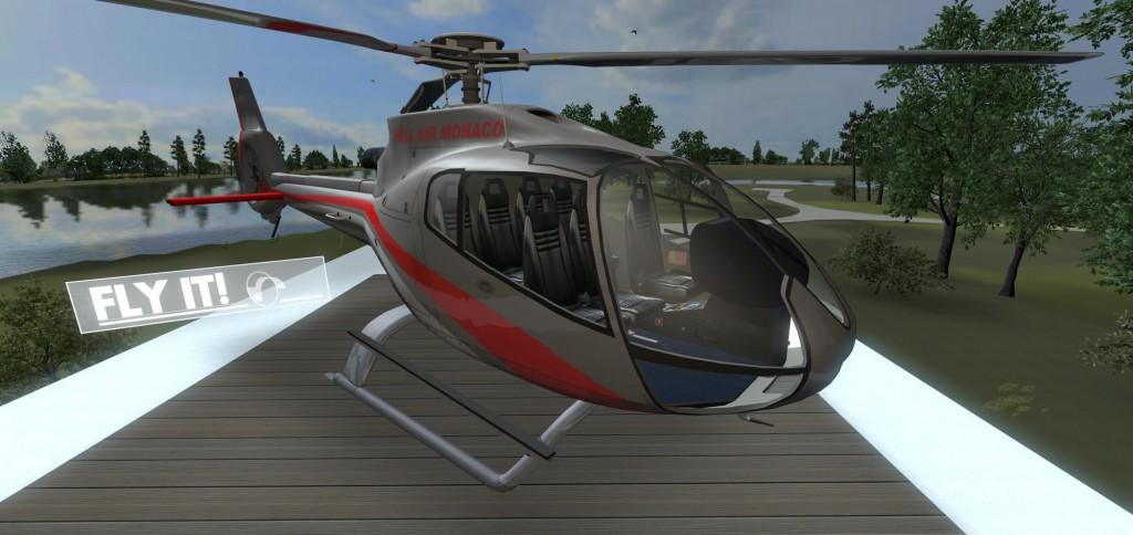 Helicopter flight simulator in BIM visualization