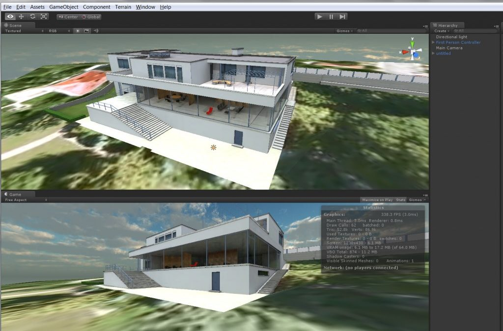 Villa Tugenhdat, by Mies van der Rohe: Realtime 3D virtual tour published to Flash with Unity3D